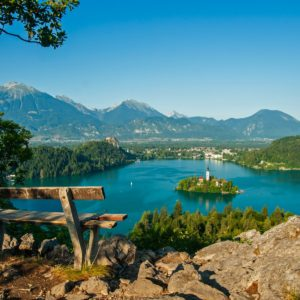 Lake Bled Mountains Tree Bench Bled Slovenia Wallpaper Hd 1920×1200