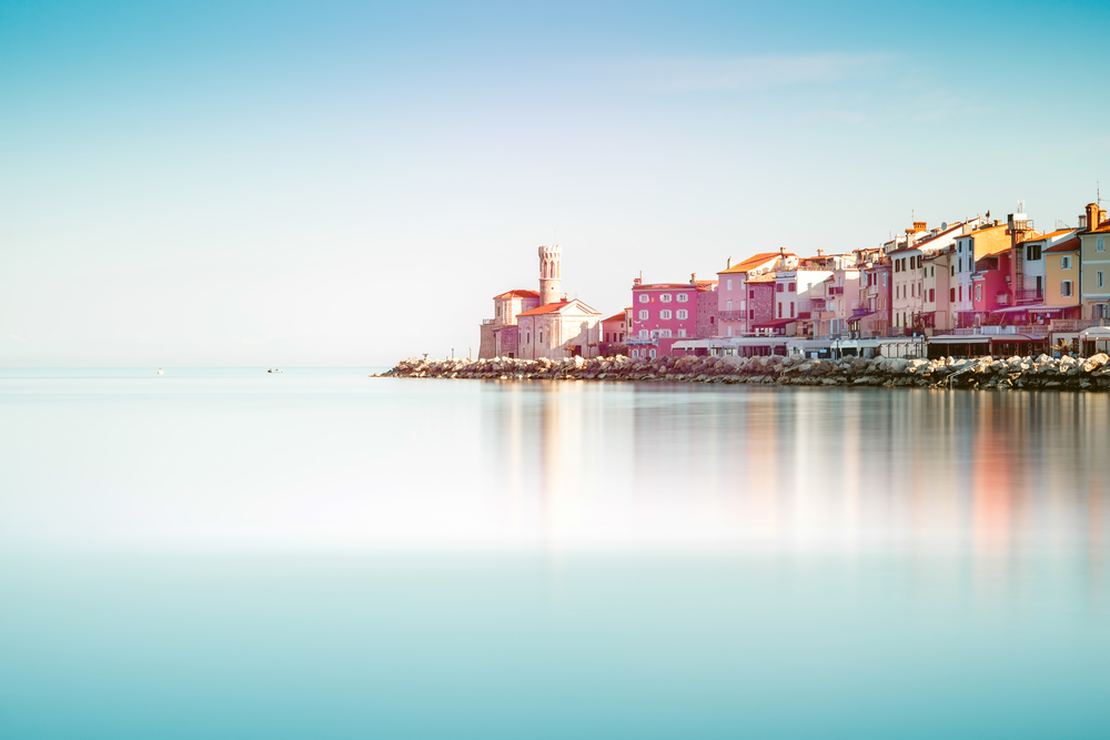 shutterstock_457528972 Coastline view on Piran town on the Adriatic sea in southwestern Slovenia