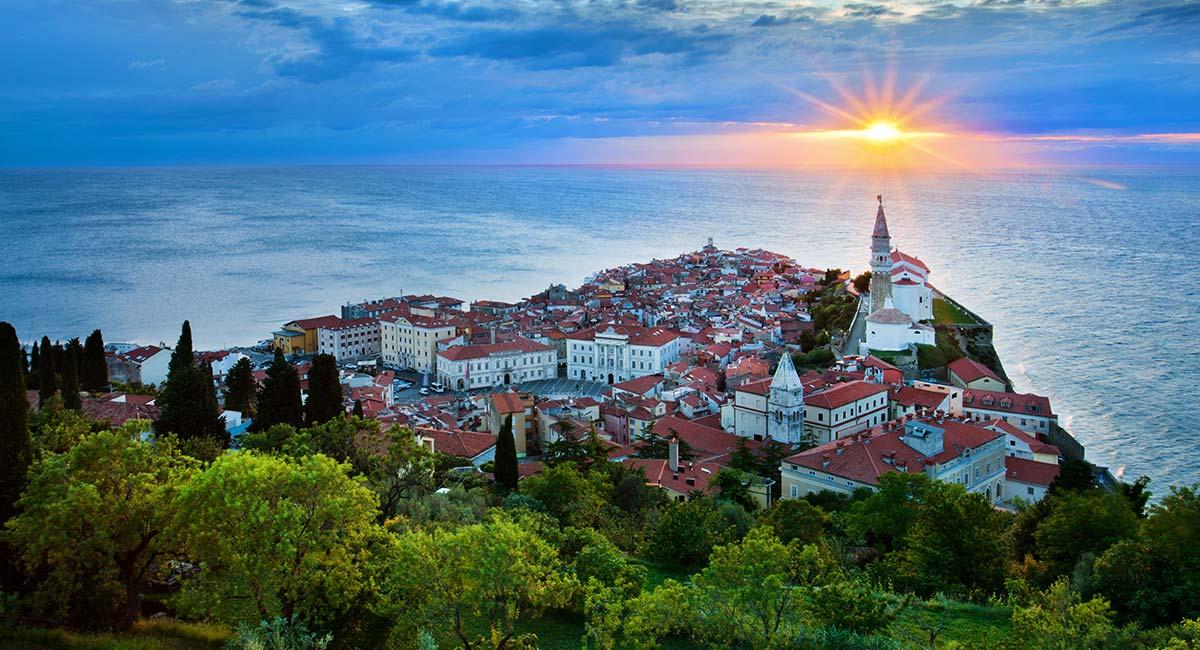 Mediterranean-Slovenia-piran-sunset